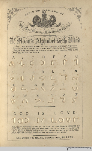 A competing English system of encoding text for the blind, using symbols close to legible letters. In William Moon, Light for the Blind, 1879, opposite page 66.