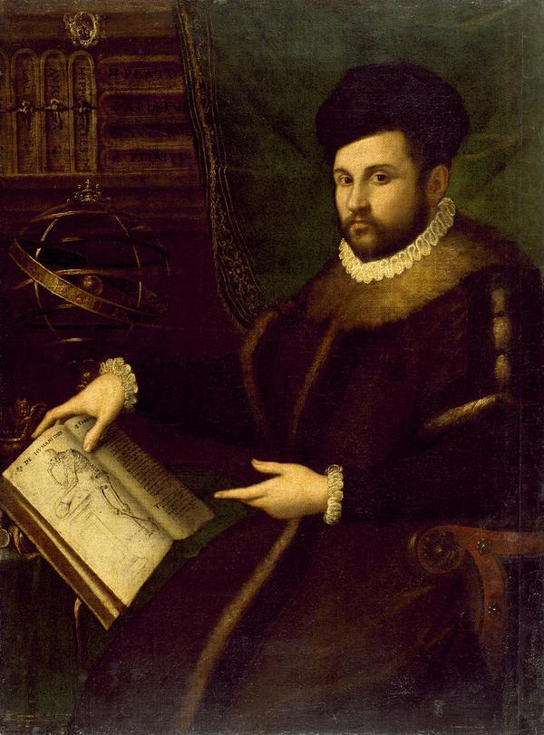 Physician Gerolamo Mercuriale holding Vesalius's De Humani Corporis Fabrica c 1600 Painter: Lavinia Fontana (1552-1614)
