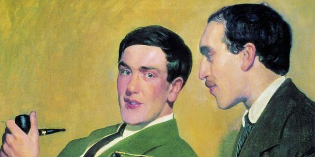Portrait of Soviet scientists Petr Kapitza (left) and Nikolai Semenov by Russian painter Boris Kustodiev (1921). Both scientists were later awarded Nobel Prizes, Semenov for chemistry in 1956 and Kapitza for physics in 1978