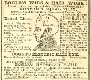 """Bogles Hair Dye"" in Walton's Vermont Register and Farmers' Almanac for 1862 (Montpelier: S. M. Walton, 1862). Image courtesy of Archive.org:"