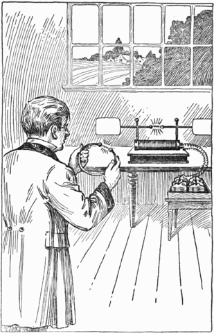 Artist's conception of Heinrich Hertz's experiment demonstrating electromagnetic waves in 1887. Image from Wikimedia.