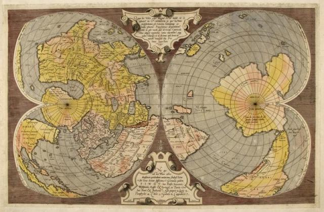 A double cordiform (heart-shaped) world map made by Mercator in 1550