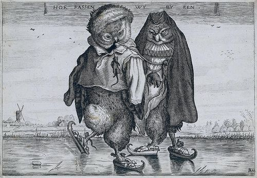 A Pair of Skating Owls, first half of 17th century, Adriaen Pietersz van de Venne