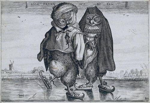 A Pair of Skating Owls, first half of 17th century, Adriaen Pietersz van de Venne