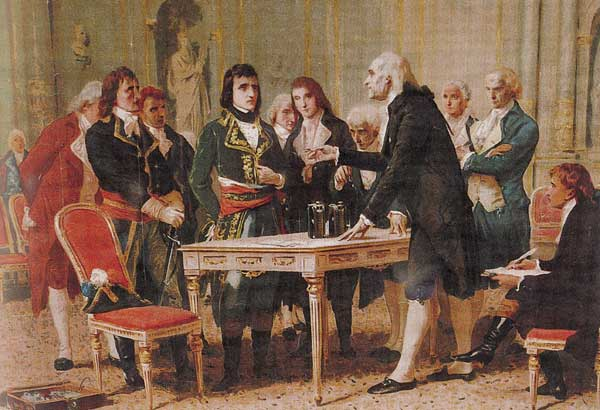 "Alessandro Volta demonstrating his battery (called the ""Voltaic Pile"") to Napoleon, 1801 by Giuseppe Bertini"