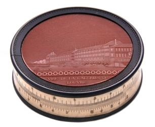 Picture: Slide rule on the rim of a snuff box, described in 1816 by Jomard as being invented & made by the 'mécanicien' Hoyau