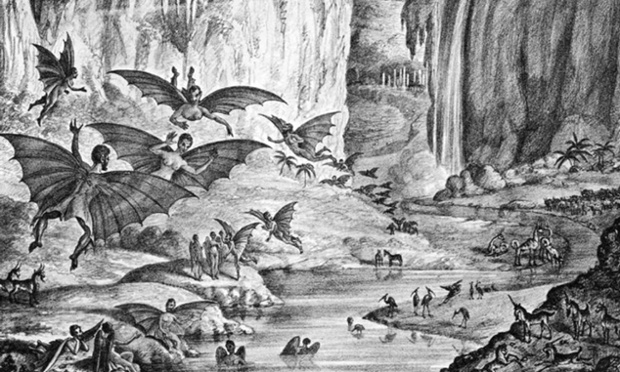 "Holy lunarians, bat-men! An illustration produced for a later edition of the New York Sun's ""Great Astronomical Discoveries"". Illustration: Wikimedia"