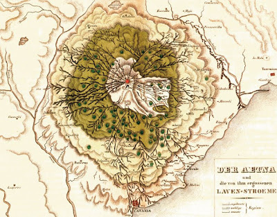 """Topographic map of Mount Etna in 1823 (reprinted in 1844 by Leonhard """"Vulkan Atlas"""") by Mario Gemmellaro, displaying lava flows, cones and villages in the surroundings of the volcano."""