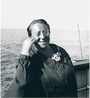 Emmy Noether on a boat in 1930.