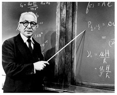 I.I. Rabi at a blackboard; somewhat ironically, as he was famously a terrible lecturer.