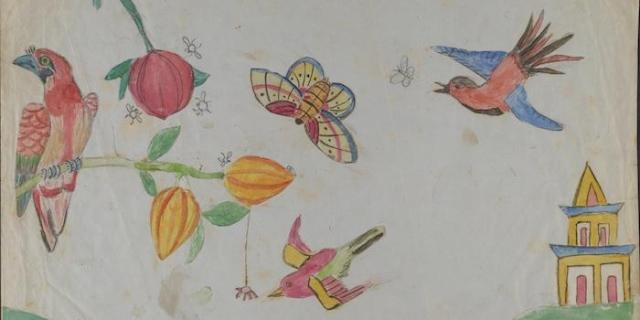 "Charles Darwin's children drew serveral pictures on the original manuscript of his historic book ""On the Origin of Species."" (Source: American Museum of Natural History)"