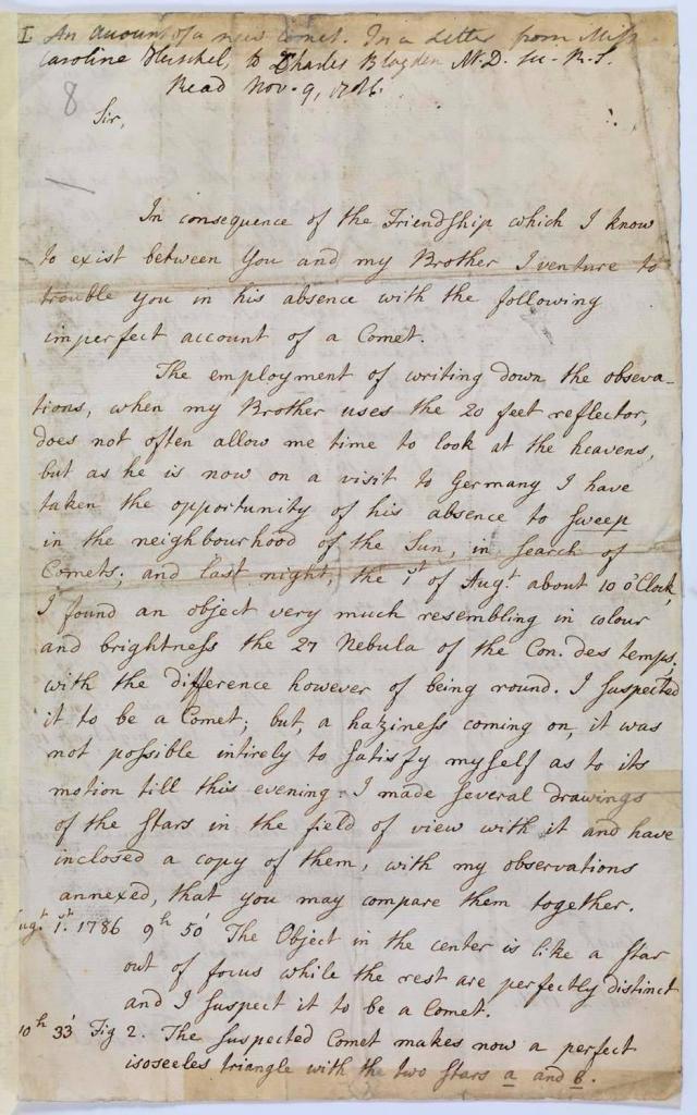 Caroline Herschel Letter