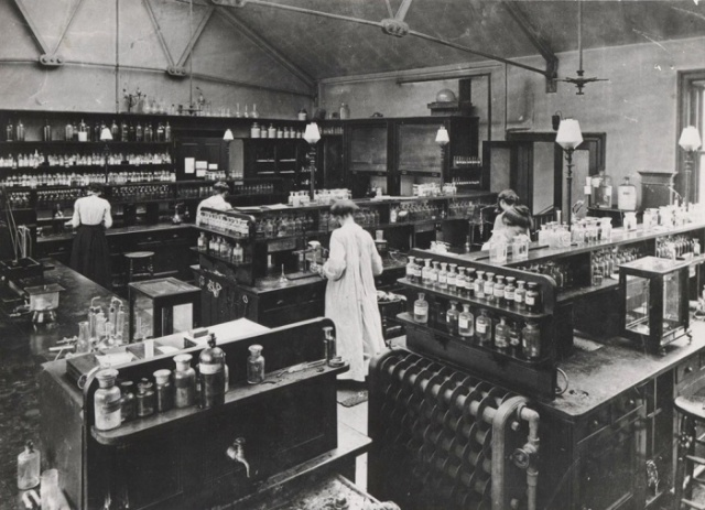 Cemistry lab at Bedford College in 1874. Photograph: Archives, Royal Holloway, University of London Source: The Guardian