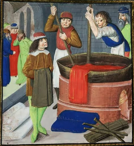 "Dyeing wool cloth, from ""Des Proprietez des Choses"" Bartholomaeus Anglicus, 1482 British Library Royal MS 15.E.iii, folio 269"