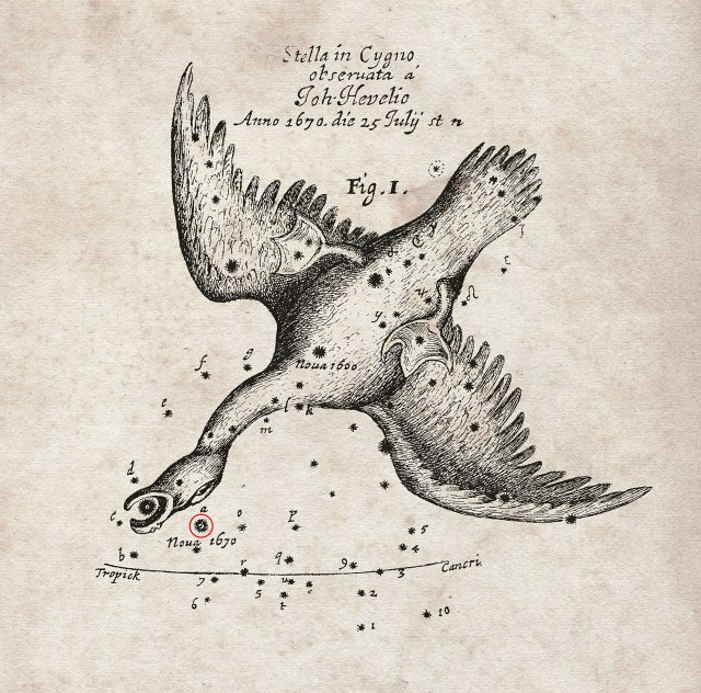 "A chart showing the position of a ""nova"" that appeared in 1670 and was dubbed Nova Vul 1670. It would later be renamed CK Vulpeculae. Its location was recorded by the famous astronomer Hevelius and was published by the Royal Society in England in its journal Philosophical Transactions."