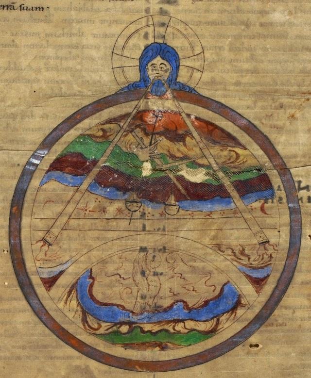 God creating the world (BL Royal 1 E VII, f. 1v, 11th century, Canterbury)