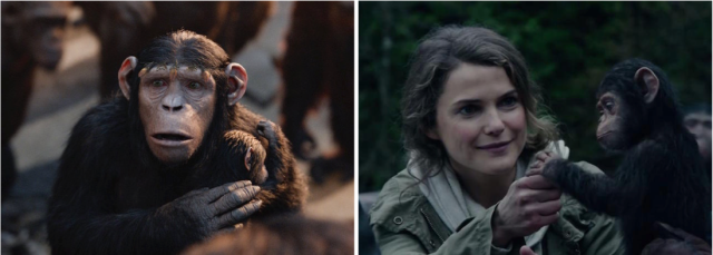 Promotional shots of Cornelia (Judy Greer) and Ellie (Keri Russell) show 'Dawn of the Planet of the Apes' only named female characters comforting a baby