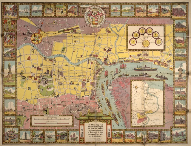 "Carl Crow and the Shanghai Municipal Council, ""Illustrated Historical Map of Shanghai,"" 1935."