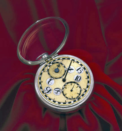 Balance spring pocket watch in silver case (1675-1679)