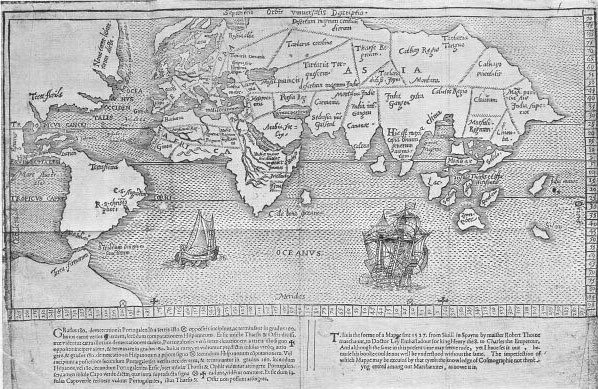 Robert Thorne, Orbis Universalis Descriptio [London : T. Dawson for T. Woodcocke, 1582]. British Library C.24.b.35  Untitled