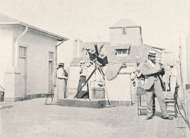 Annie Maunder (centre) preparing to observe the 1900 eclipse in Algiers with the British Astronomical Association (from E. Walter Maunder (ed.), The Total Solar Eclipse of May 1900).