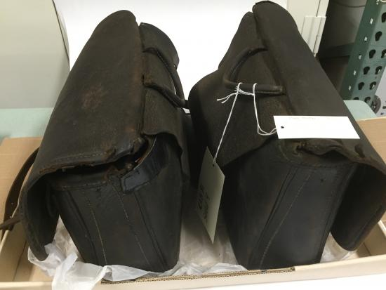 The nurse-midwife carried two leather saddlebags—one on each side of the horse connected by a strap. She had one pair of saddlebags for general health care, and one for home deliveries. Nearly all babies were delivered at home. These saddlebags are from the 1930s.