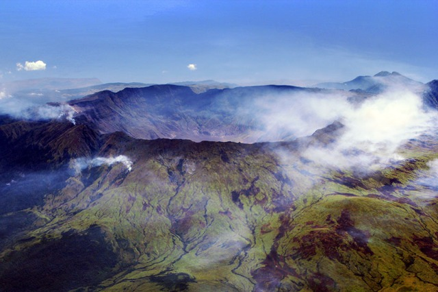 Aerial view of the caldera of Mount Tambora, formed during the colossal 1815 eruption. Source: Wikimedia Commons