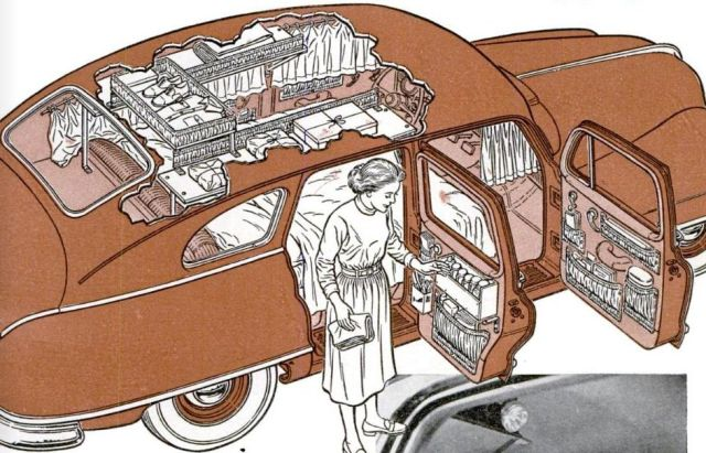 Campers built inside 1949 Nash 1952 The illustrator for this drawing is unknown.