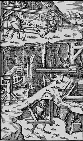 Mining practices,  from Agricola, De Re Metallica