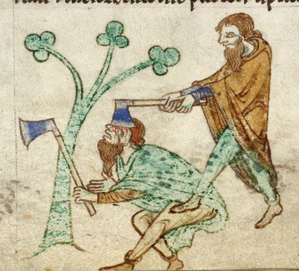 One Irishman kills another, from Gerald of Wales' The History and Topography of Ireland (Image: BL Royal 13 B VIII)
