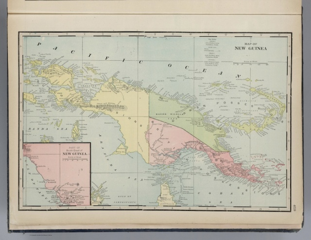 """New Guinea,"" from George Franklin Cram's 1901 atlas, Cram's Standard American Railway System Atlas of the World. David Rumsey Map Collection"