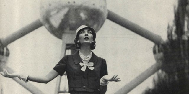 A Vogue model poses before the Atomium, the symbol of the 1958 Brussels World's Fair. By that time the atom had become part of popular culture.