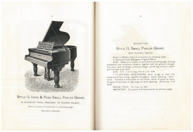 Ivers & Pond Piano Co., Boston, MA. Ivers & Pond Pianos, circa 1890, pages 32-33, Style 13, Ivers & Pond Small Parlor Grand Piano.