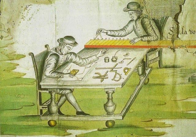 Die Schiener bei der Arbeit, Miniatur aus einer Grubenkarte aus dem 18. Jahrhundert. Zu seinen Arbeitsgeräten gehörten Schnüre, Stäbe, Hängekompaß, Setzkompaß, Klinometer, Abstechen (Winkelgerät) und Quadrant.