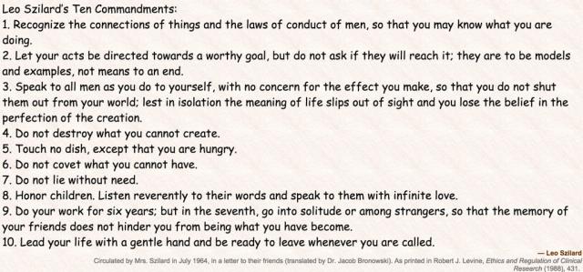 Szilard Commandments