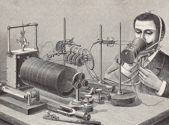Louis Poyet, Abbé Rousselot's Apparat zur Aufzeichnung der Sprache, 1890.