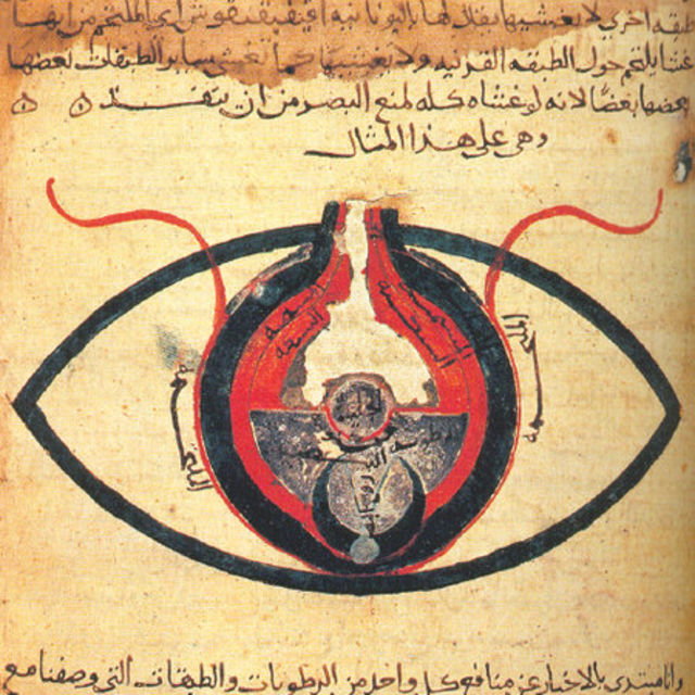 The 9th century scholar Hunayn ibn Ishaq wrote extensively about ophthalmology. This drawing of the eye is based on his works.