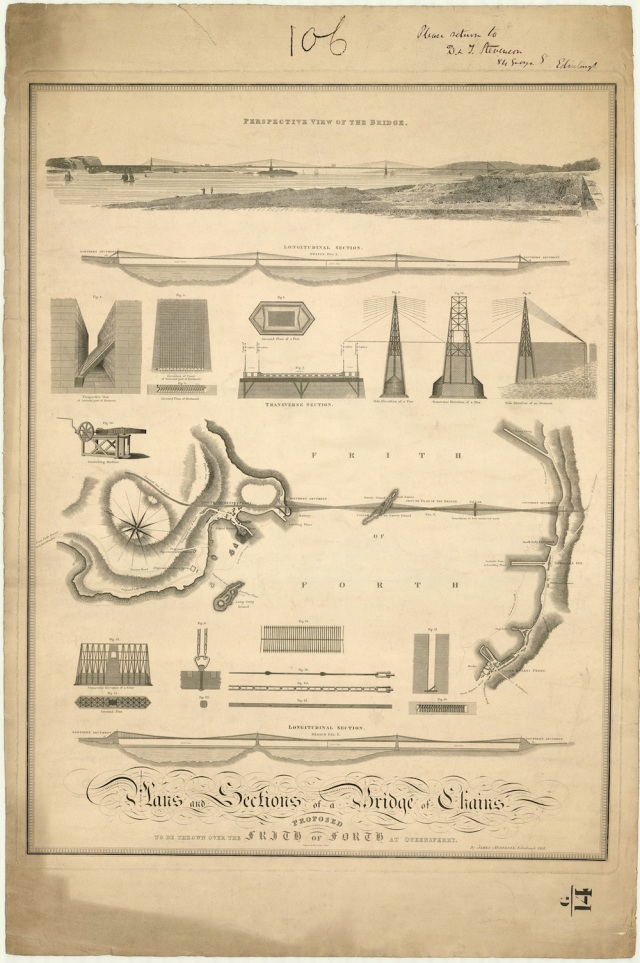 "Detail from ""Plans and sections for a bridge of chains proposed to be thrown over the Frith of Forth at Queensferry"", James Anderson, 1818."