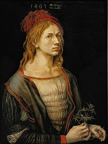 The earliest painted Self-Portrait (1493) by Albrecht Dürer, oil, originally on vellum (Louvre, Paris) Source: Wikimedia Commons