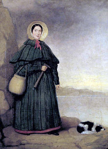 Mary Anning with her dog, Tray, painted before 1842; the Golden Cap outcrop can be seen in the background Source: Wikimedia Commons