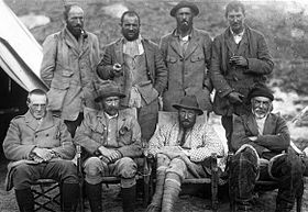 1921 Everest Expedition; Mallory at right on rear row; Bullock at left on rear row Source: Wikimedia Commons