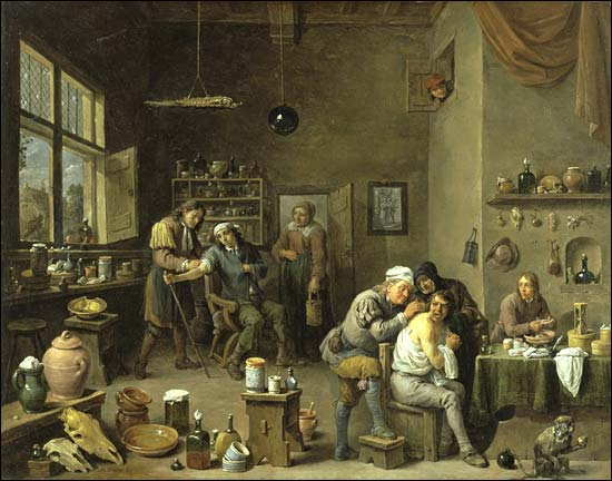 DAVID TENIERS THE YOUNGER, The surgeon-barber , oil on cloth 57,15 x 73,66 cm The Chrysler Museum of Art,  Norfolk, VA. Gift Walter P. Chrysler, Jr.