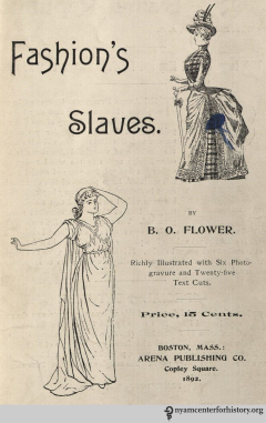"The title page of ""Fashion's Slaves,"" 1892."