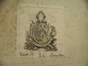 James Musgrave's bookplate, with the Barnsley Park shelfmark (here Case R. E.4.)