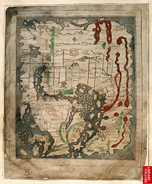 Anglo Saxon Mappa Mundi Cotton MS Tiberius B.V., 56v Copyright © The British Library Board