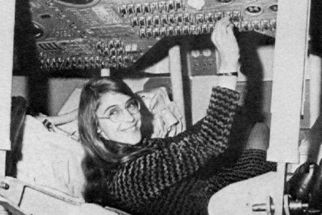 Margaret Hamilton in an Apollo Command Module.