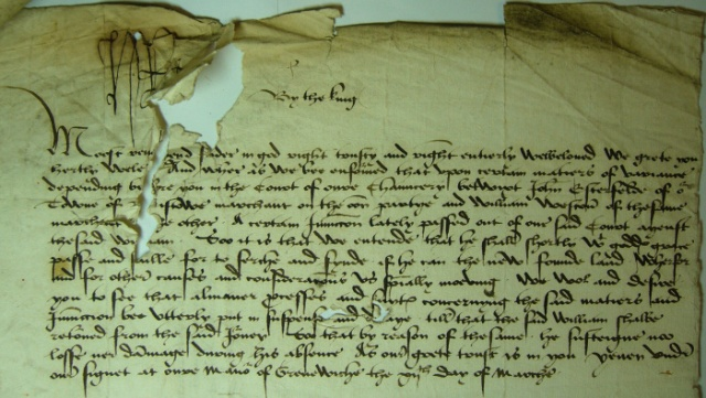 Henry VII's letter to John Morton, re William Weston, c. 1499, C82/332 piece 61 out of 74, TNA:PRO. Courtesy of The National Archives