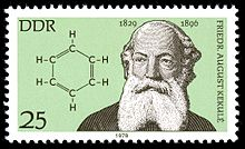 1979 East German stamp of Kekulé, in honour of the sesquicentennial of his birth. Source: Wikimedia Commons