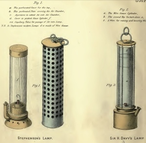 "Stephenson's lamp (left) and Davy's wire gauze lamp (right). On 25 January 1816, Davy reported to the Royal Society that prototypes of his gauze lamp had been tested ""in two of the most dangerous mines near Newcastle, with perfect success"". From George Clementson Greenwell, A Practical Treatise on Mine Engineering (1869)."