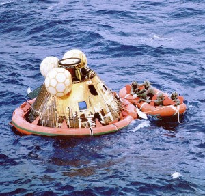 Command module Columbia of Apollo 11 after splashdown in the Pacific Ocean. Credit: NASA